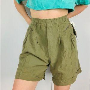 Vintage gitano cotton olive green pleated shorts